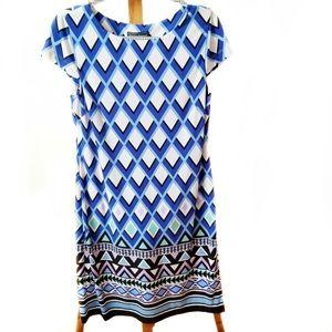 Jessica Howard blue geometric pattern shift dress